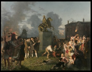 Johannes Oertel Pulling Down the Statue of King George III, New York 1852-1853 Image courtesy of the New-York Historical Society